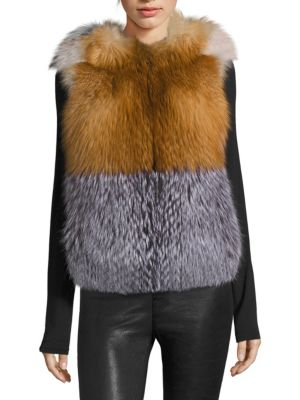 Colorblock Fox Fur Vest