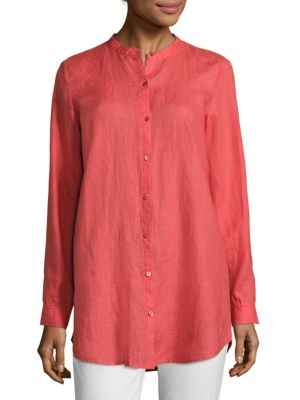 Linen Mandarin Collar Shirt by Eileen Fisher