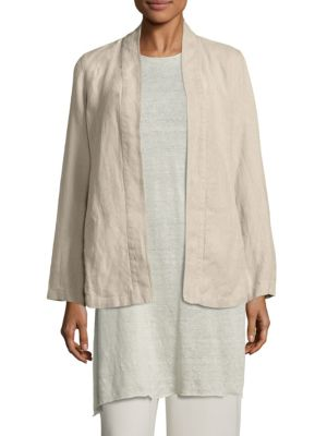 Undyed Linen Kimono Jacket by Eileen Fisher