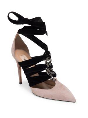 Suede & Velvet Ankle-Wrap Pumps