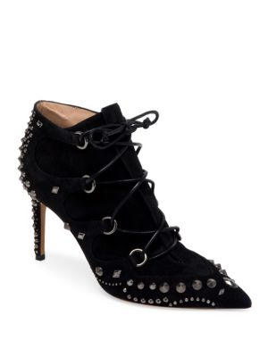 Pebbles Studded Suede Lace-Up Pumps