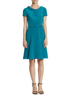Belted Silk Crepe Dress