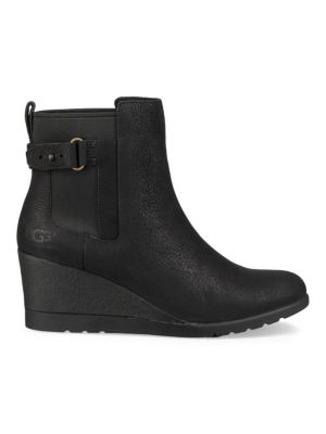 Indra Leather Wedge Buckle Booties