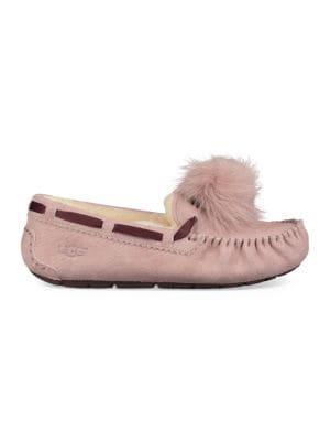 Dakota Fur Pom-Pom Suede Loafers