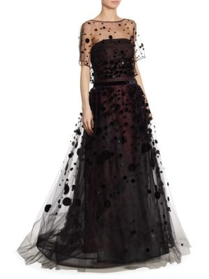 Embroidered Flocked Tulle Gown