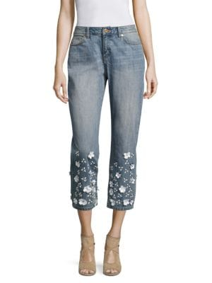 Floral-Embellished Ankle Jeans by MICHAEL MICHAEL KORS