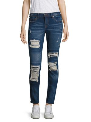 Halle Distressed Super Skinny Jeans/Indigo Cadence