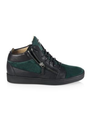 Double-Zip Leather & Suede Mid-Top Sneakers