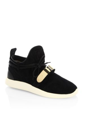 Single Bar Suede Slip-On Sneakers