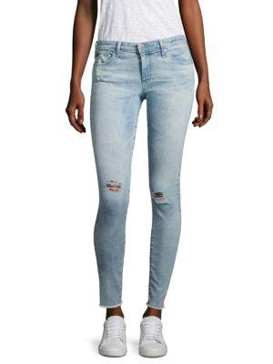Distressed Frayed Hem Legging Ankle Jeans by AG