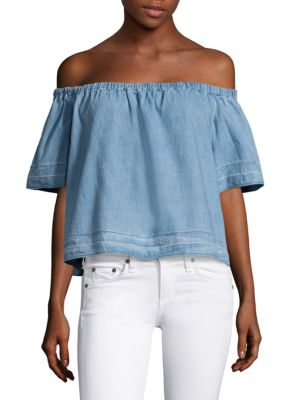 Sylvia Off-The-Shoulder Chambray Top by AG