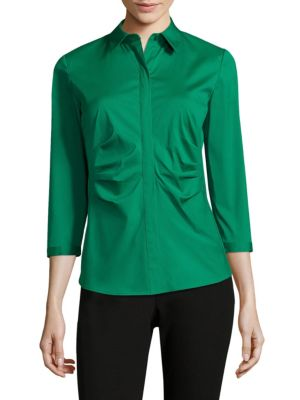 Leigh Ruched Blouse by Lafayette 148 New York