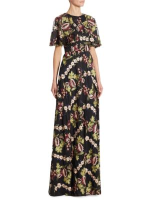 Embroidered Chiffon Cape Gown