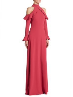 Long Sleeve Cold Shoulder Gown