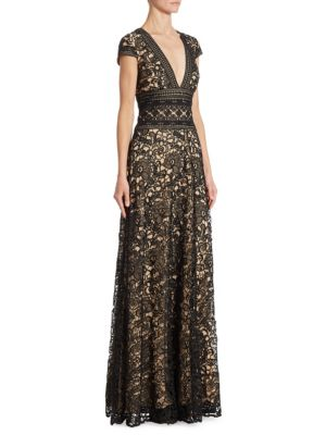 Multi Lace V-Neck Gown