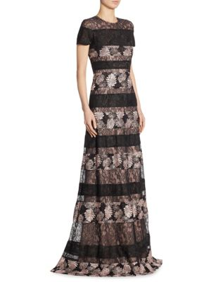 Short Sleeves Lace Gown