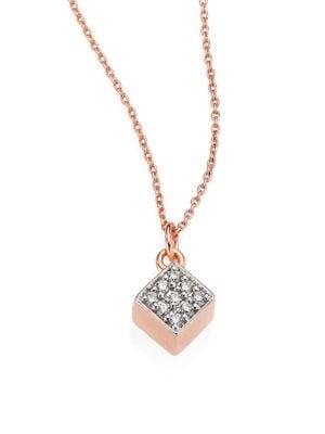Ever Mini Diamond & 18K Rose Gold Square Pendant Necklace