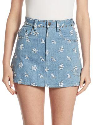 marc jacobs female studded denim mini skirt