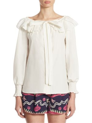 marc jacobs female ruffle button front blouse
