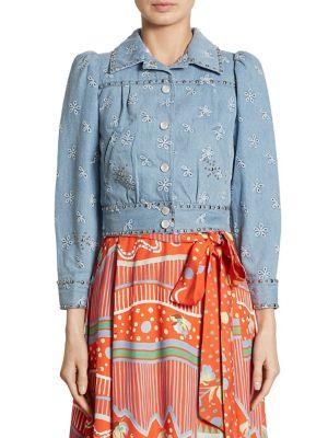 marc jacobs female embroidered denim jacket