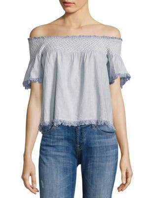 Hand Smocking Off-the-Shoulder Top