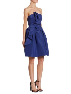 Silk Faille Ruffle Dress