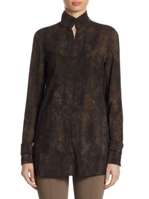 Wool Shearling-Print Blouse by Akris