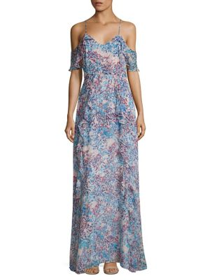 Irene Garden Cold Shoulder Printed Gown