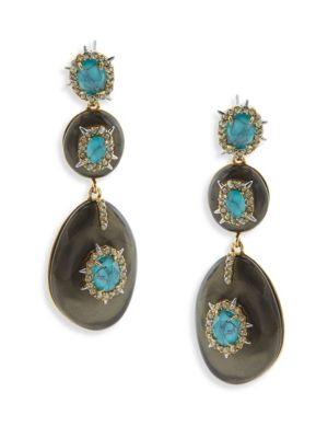 Opalescent Crystal & Turquoise Drop Earrings