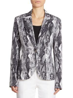 Snakeskin-Print Stretch Cotton Jacket