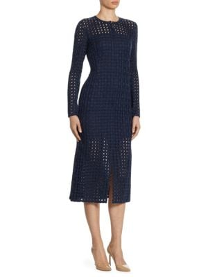 Wool Net-Embroidered Dress