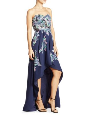 Floral Embellished Strapless Dress