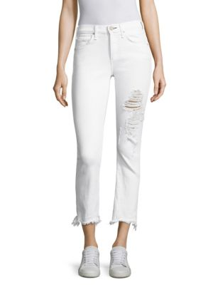 Valletta Cropped Distressed Jeans With Frayed Hem