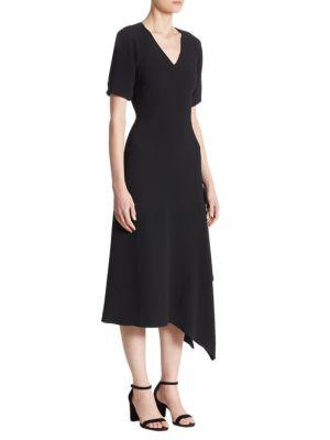 Draped V-Neck Midi Dress