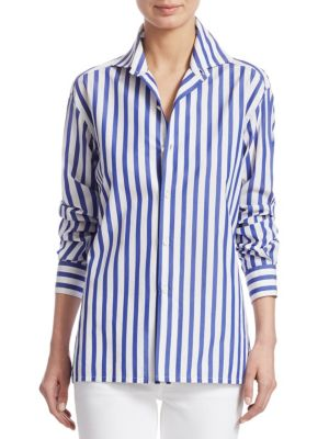 RALPH LAUREN | Iconic Style Capri Striped Cotton Shirt | Goxip
