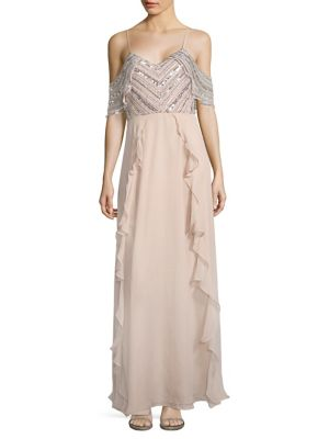 Irene A-Line Silk Cold Shoulder Gown
