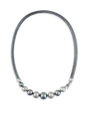 9-12MM Nuage and Grey Pearl and Leather Graduated Necklace