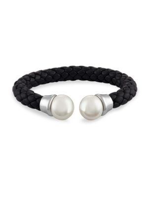 14MM White Pearl & Braided Leather Bangle