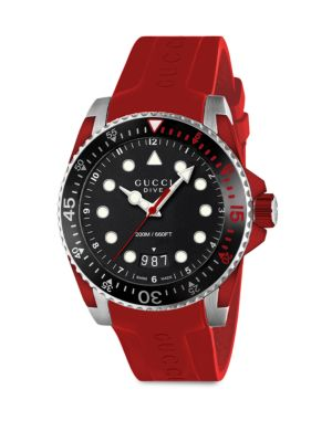 Gucci Dive Stainless Steel & Red Rubber Strap Watch