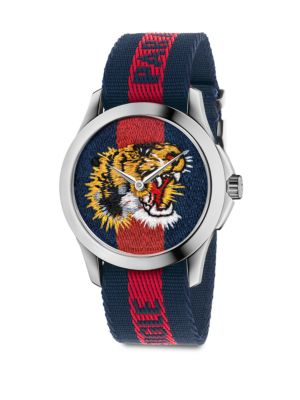 Le Marché Des Merveilles Tiger Stainless Steel & Striped Nylon Strap Watch