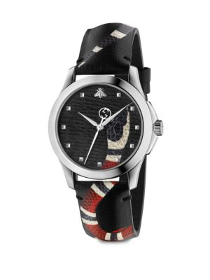 Le Marché Des Merveilles Stainless Steel & Snake-Print Leather Strap