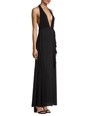 Angeline Deep-V Halter Gown