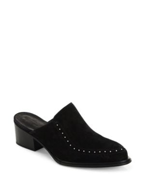 WEISS STUDDED SUEDE FLAT MULE, BLACK SUEDE