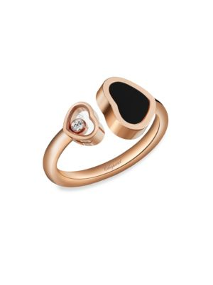 CHOPARD | Happy Hearts 18K Rose Gold, Diamond & Black Onyx Ring | Goxip