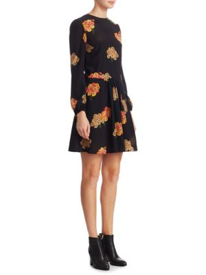 Long-Sleeve Silk A-Line Dress