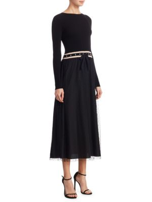 Long Sleeve Knitted Tulle Dress