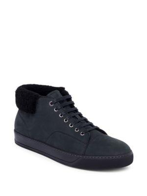 Shearling-Trim Suede Mid-Top Sneakers