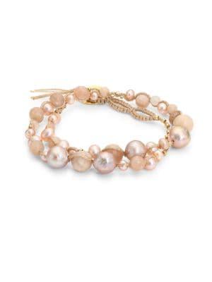 4-8MM Pink Pearl & Sunstone Double-Wrap Bracelet