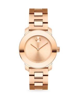 Bold Rose Goldtone IP Stainless Steel Bracelet Watch