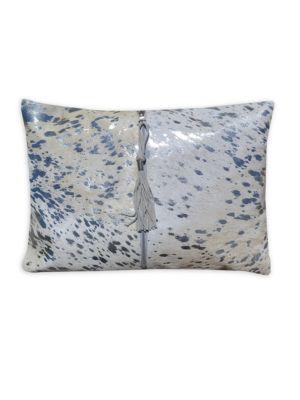 Stenciled Zip-Detail Calf Hair Pillow